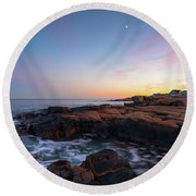 Moon Over Gloucester Sunset Round Beach Towel