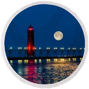 Moon Over Grand Haven Round Beach Towel