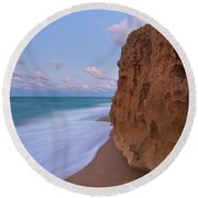 Round Beach Towel featuring the photograph Moon Over Hutchinson Island Beach by Justin Kelefas