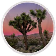 Moon Over Joshua Tree Round Beach Towel