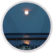 Moon Over Mackinac Island Round Beach Towel