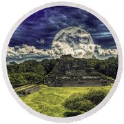 Moon Over Mayan Temple Two Round Beach Towel