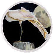 Moon Over Mississippi A Snowy Egrets Perspective Round Beach Towel by Phyllis Beiser