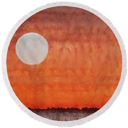 Moon Over Mojave Round Beach Towel