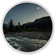 Round Beach Towel featuring the photograph Moon Over Montana by Margaret Pitcher