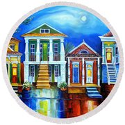Moon Over New Orleans Round Beach Towel