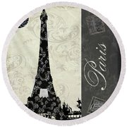 Moon Over Paris Postcard Round Beach Towel