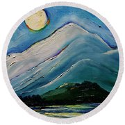 Moon Over Pioneer Peak Round Beach Towel