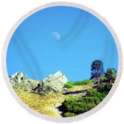 Round Beach Towel featuring the photograph Moon Over Ray's Perch by Timothy Bulone
