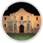 Moon Over The Alamo Round Beach Towel