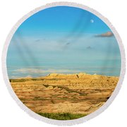 Moon Over The Badlands Round Beach Towel