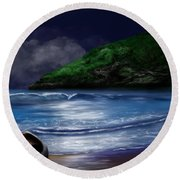 Moon Over The Cove Round Beach Towel