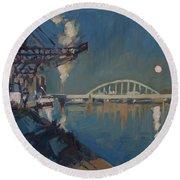 Moon Over The Railway Bridge Maastricht Round Beach Towel