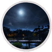 Moon Over The River Round Beach Towel