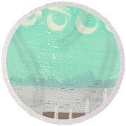 Moon Over The Sea Round Beach Towel