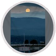 Moon Over The Spit Round Beach Towel