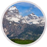 Moon Over The Tetons Round Beach Towel