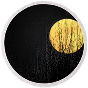 Moon Over The Trees Round Beach Towel