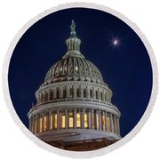Moon Over The Washington Capitol Building Round Beach Towel
