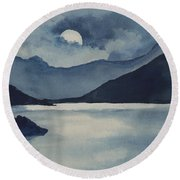 Round Beach Towel featuring the painting Moon Over The Water by Sam Sidders