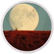 Moon Over Utah Round Beach Towel by Charlotte Schafer