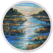 Moon Over Waterway Round Beach Towel
