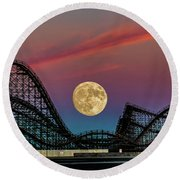 Moon Over Wildwood Nj Round Beach Towel