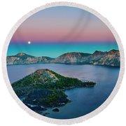 Moon Over Wizard Island Round Beach Towel