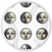 Moon Phases And Romanticism Round Beach Towel