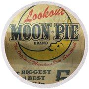 Moon Pie Antique Sign Round Beach Towel