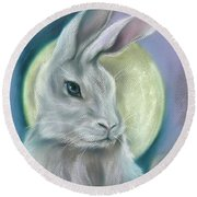 Moon Rabbit Round Beach Towel