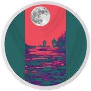 Moon Racers Round Beach Towel
