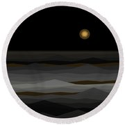 Moon Rise Abstract II Round Beach Towel