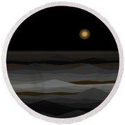 Moon Rise Abstract II Round Beach Towel