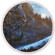 Round Beach Towel featuring the mixed media Moon Rise  by Angela Stout