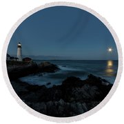 Moon Rise At Portland Headlight Round Beach Towel