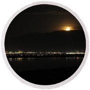 Round Beach Towel featuring the photograph Moon Rise At Washatch by Norman Hall