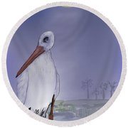 Moon Rise Becomes A Stork Round Beach Towel