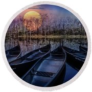 Round Beach Towel featuring the photograph Moon Rise On The River by Debra and Dave Vanderlaan