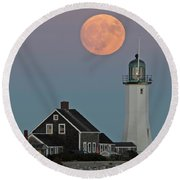Moon Rise Over Scituate Round Beach Towel