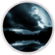 Round Beach Towel featuring the photograph Moon Rising by Aaron Berg