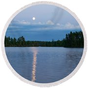 Moon Rising Over Lake One, Water Round Beach Towel