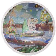 Round Beach Towel featuring the painting Moon River Fairies by Judith Desrosiers