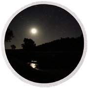 Moon Set Over Palm Valley 2 Round Beach Towel by Paul Svensen