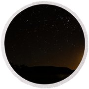 Moon Set Over Palm Valley Round Beach Towel