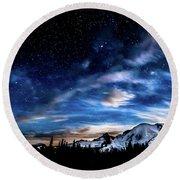 Moon Setting Behind Mt Rainier  Round Beach Towel by Rob Green