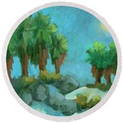 Round Beach Towel featuring the painting Moon Shadows Indian Canyon by Diane McClary