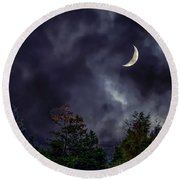 Moon Shine Over The Okanagan Round Beach Towel