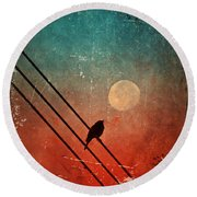 Moon Talk Round Beach Towel