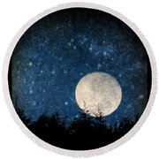 Moon, Tree And Stars Round Beach Towel